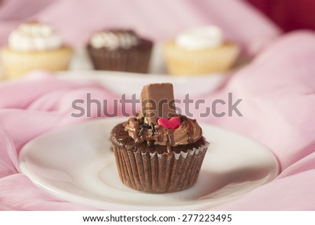 Chocolate flavor cup cake - stock photo