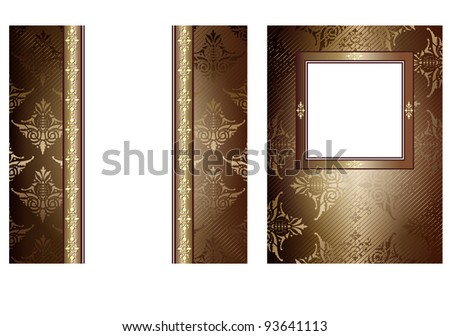 2 chocolate vintage banners with decorative ornaments on white - stock photo
