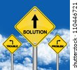 3 Choices Between Problem, Trouble or Solution Road Sign for Business Solution Concept in Blue Sky Background - stock photo