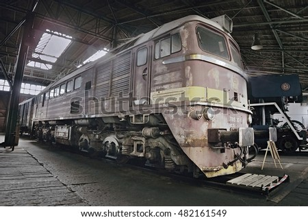 "2016/08/28 - Chomutov, Czech republic - soviet diesel locomotive 679.1592 ""Sergej"" produced in the second half of the 20th century and riding in Czechoslovakia"