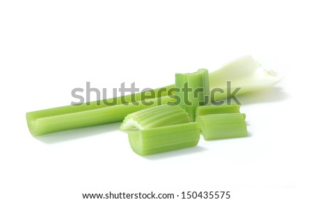 chopped celery  on white background  - stock photo