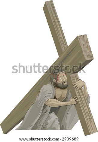 Christ bearing the cross to the crucifixion. Raster version