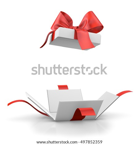 Christmas and New Year's Day ,Open red gift box white background 3d rendering