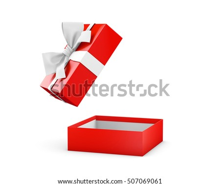 Christmas and New Year's Day  ,Opening red gift box white ribbon background 3d rendering