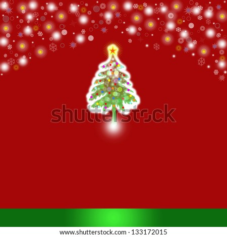 christmas background with baubles and christmas tree - stock photo