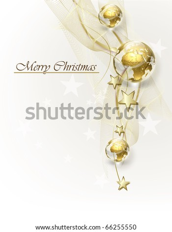 Christmas background with golden globes - stock photo