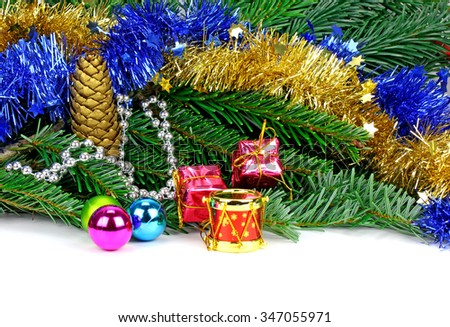 Christmas background with red  gift box,  and fir