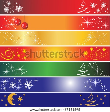 7 Christmas banners - stock photo