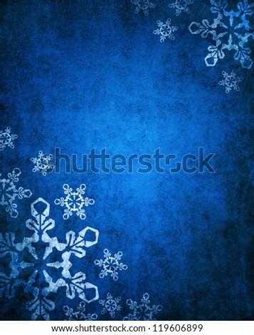 Christmas blue background with white snowflakes - stock photo