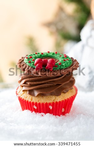 Christmas cakes decorated with fondant  - stock photo