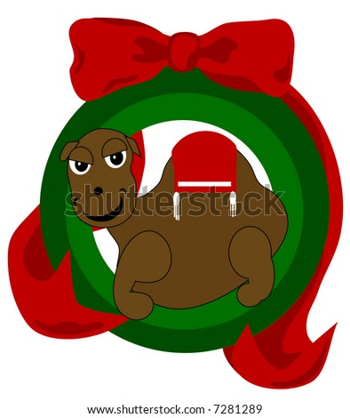"""Christmas Camel Ornament"" is adorned in an ornament style frame and beautiful ribbon."