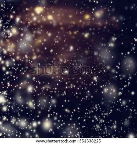 Christmas Card with falling snow flakes over wooden background. New Year holiday backdrop with copy space   - stock photo