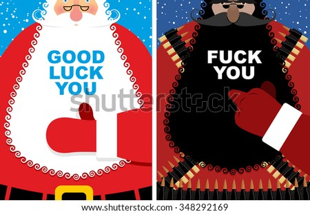 Christmas cards. Good Santa Claus and angry grandfather terrorist with Bandolier. Jolly Santa thumbs up Good luck you. Old man fuck shows villain. Red winter clothes and military uniforms.  - stock photo