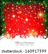 2014 Christmas Colorful Background with a waterfall of ray lights and a lot of baubles and stars. - stock
