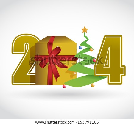 2014 christmas concept illustration design over a white background - stock photo