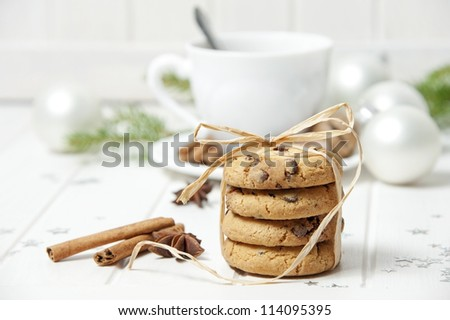 christmas cookies an cup of tea - stock photo