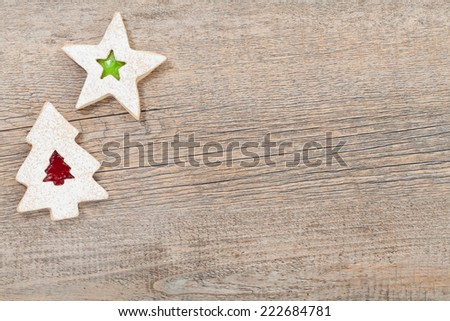christmas cookies on a wooden background - stock photo