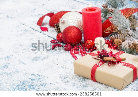 Christmas decoration. Composition on wood background. - stock photo