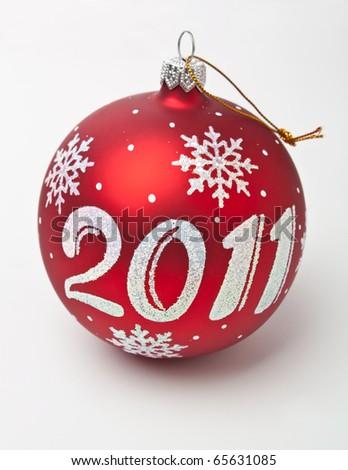 2011 Christmas decorations on white background - stock photo