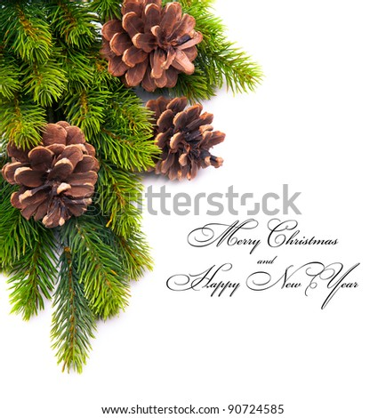christmas frame with fir and Holly berry on old paper background - stock photo