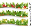 3 Christmas Garlands - stock photo