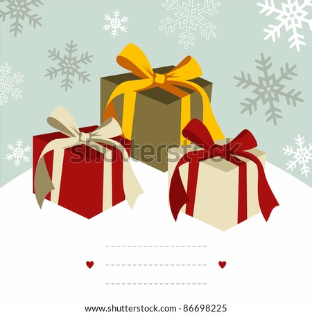 Christmas gifts illustration with blank lines to write on snowy background.  Vector file available. - stock photo
