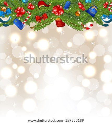 Christmas glowing background with holiday decoration - raster