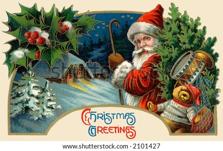 'Christmas Greetings' - Santa Claus making a delivery - circa 1914 vintage greeting card illustration.