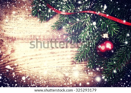 Christmas ornaments with copy space for greeting text, close up. Xmas Card with decorations - stock photo