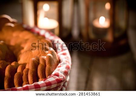 Christmas preparations at dusk - stock photo