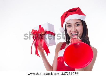 2016 Christmas santa women announcement for giving information to customer with white background