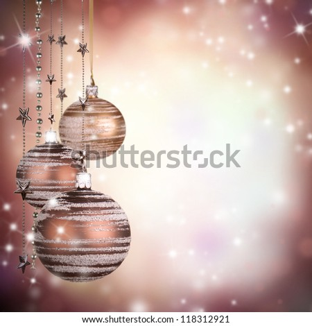Christmas theme with glass balls and free space for text - stock photo