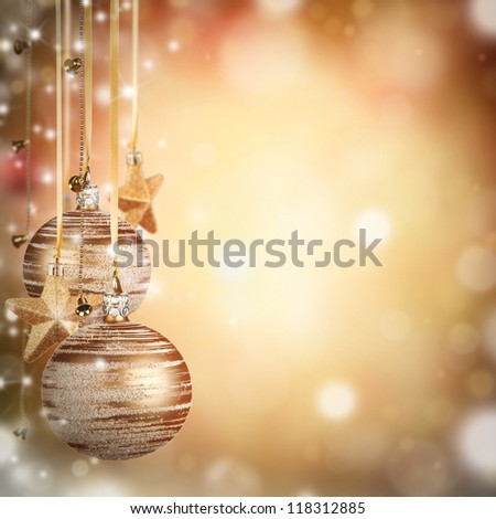 Christmas theme with golden glass balls and free space for text - stock photo