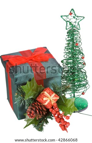 Christmas Tree Boxes and Ornaments on a Mirror - Isolated Background - stock photo