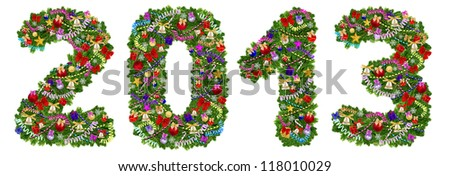 2013. Christmas tree decoration on a white background - stock photo