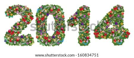 2014. Christmas tree decoration on a white background - stock photo
