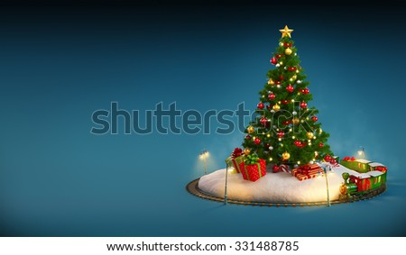Christmas tree, gifts and railroad on blue background. Unusual Christmas illustration - stock photo