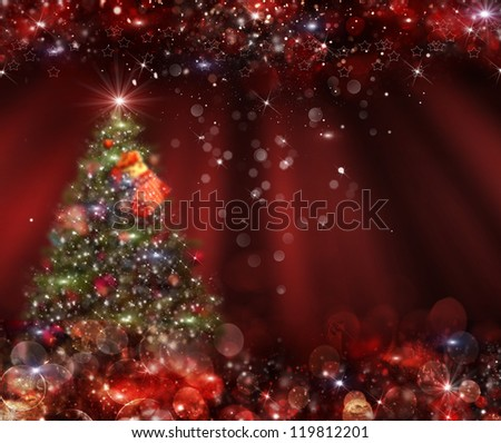 Christmas tree in the background. Blurred bokeh - stock photo