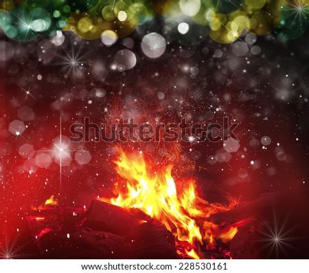 Christmas tree in the background. Blyured bokeh - stock photo