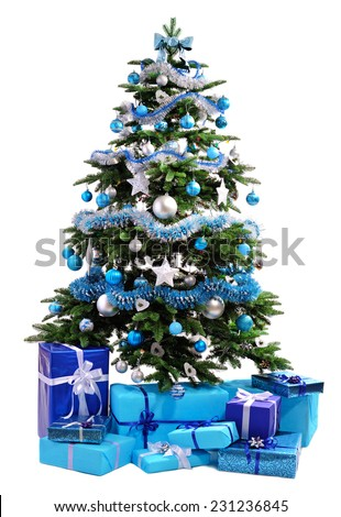 Christmas tree with blue gifts isolated on white background - stock photo