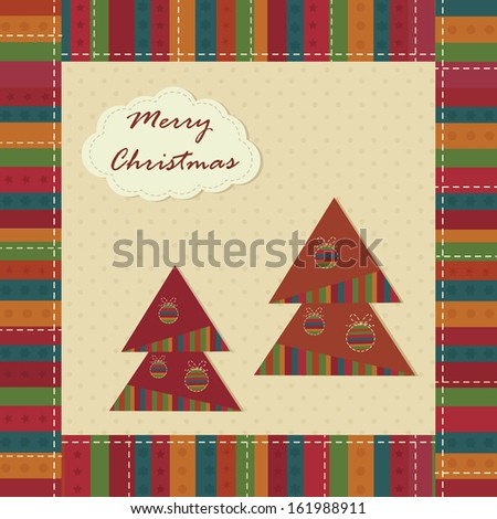 Christmas vintage greeting card with Christmas Trees,raster version - stock photo
