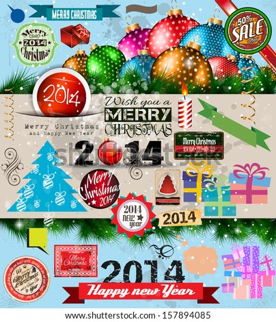 2014 Christmas Vintage typograph design elements: vintage labels. ribbons, stickers, baubles and gift boxes, birds, liquid drops, swirls and so on. - stock photo