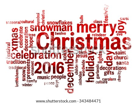 2016 christmas word cloud concept isolated on a white background with snowflakes