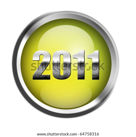 2011 chrome number on green button, isolated on white - stock photo