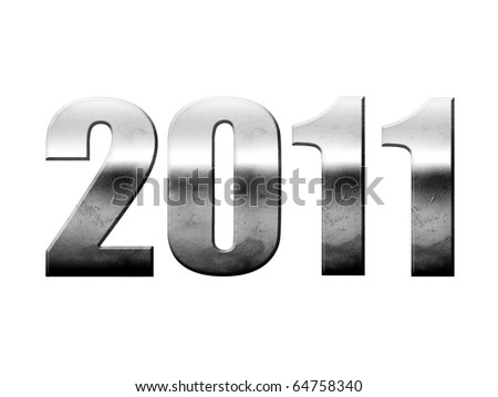 2011 chrome numbers isolated on white, new year illustration - stock photo