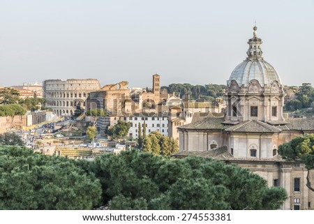 Church of Santi Luca e Martina and Roman Colosseum. Roman Forum.Italy . - stock photo