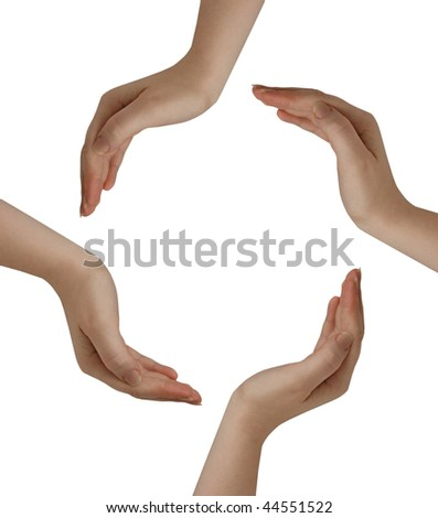 Circle made of hands isolated on white background