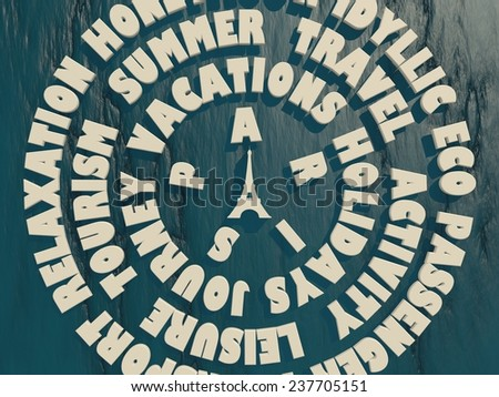 circles from travel relative tags on blue stone relief surface around eiffel tower - stock photo