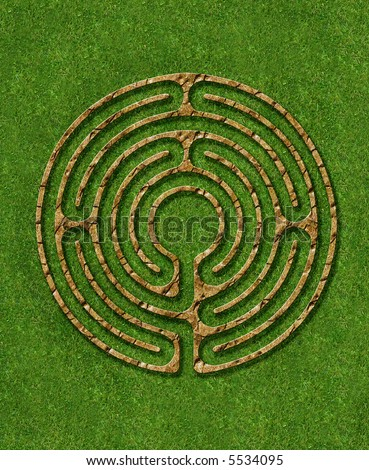 6 circuit labyrinth illustrated stone wall - stock photo