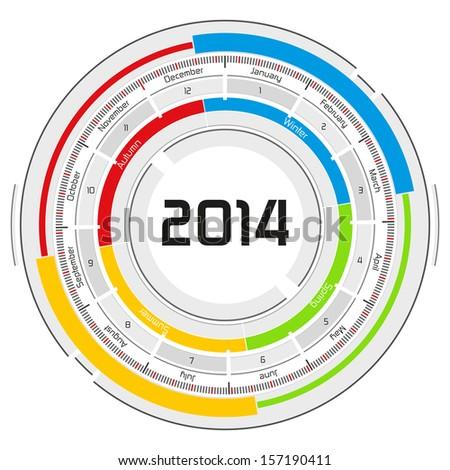 2014 circular calendar - futuristic concept design  - stock photo